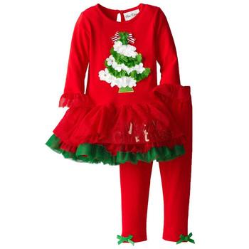 Детски коледен комплект за момичета-рокля+клин, с апликация коледна елха