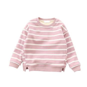 92e3db4a8f2a Παιδικό ριγέ πουλόβερ για κορίτσια με κολάρο σε σχήματος O σε ροζ και μαύρο  χρώμα