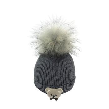 Бебешка стилка шапка за момичета и момчета с декорация и пух