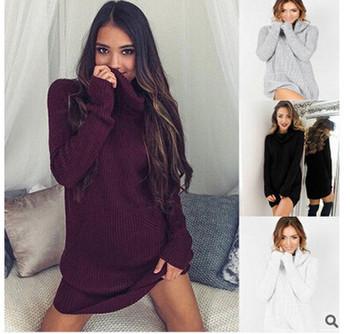 Зимен дамски пуловер тип туника с висока поло яка в четири цвята
