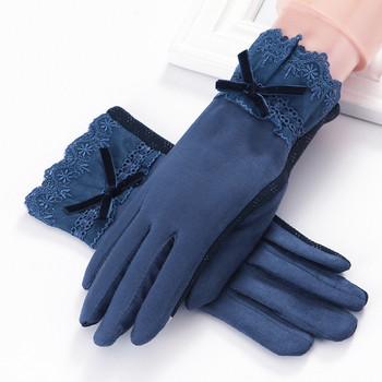 Стилни зимни дамски ръкавици с дантела и панделка