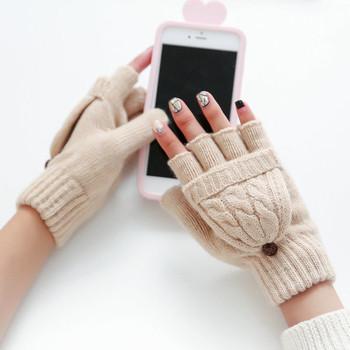 Дамски плетени ръкавици без пръст в няколко цвята с декорция