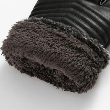 Зимни и стилни дамски ръкавици от еко кожа с пух