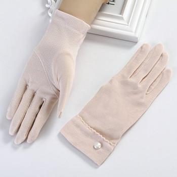 Елегантни дамски топли ръкавици с декорация