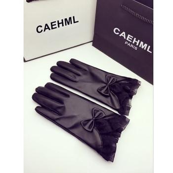 Елегантни дамски ръкавици в черен цвят
