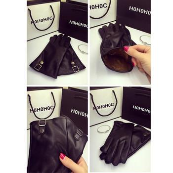 Стилни дамски ръкавици - подплатени, в черен цвят