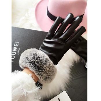 Елегантни зимни ръкавици за дамите с пух