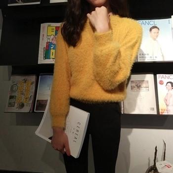 Мек и нежен плюшен дамски пуловер с О-образна яка в четири цвята