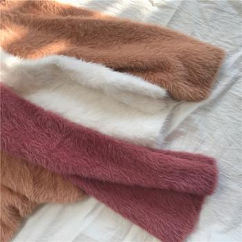 Ежедневен мек и плюшен пуловер с V-образна яка и широки ръквели в три цвята