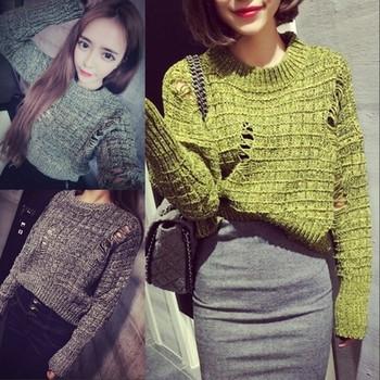 Есенно-зимен дамски пуловер с О-образна яка,скъсен и накъсан модел