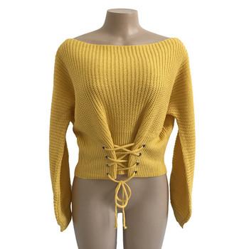 Дебел зимен дамски пуловер с интересни връзки