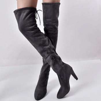 Елегантни дамски чизми от еко велур,заострени на висок ток в три цвята