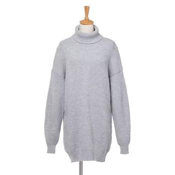Дебел зимен дамски пуловер в широк модел с висока яка в четири цвята