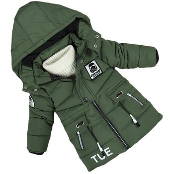 Детско зимно яке за момчета с качулка и апликация на гърба в четири цвята
