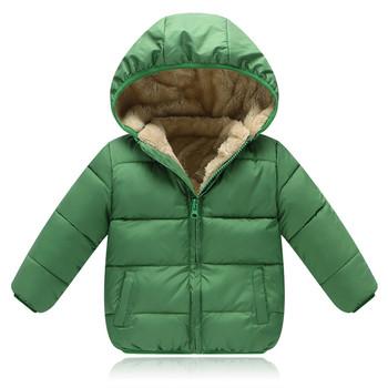 Зимно детско унисекс яке с качулка,подплатено с мек и топъл плюш в различни цветове