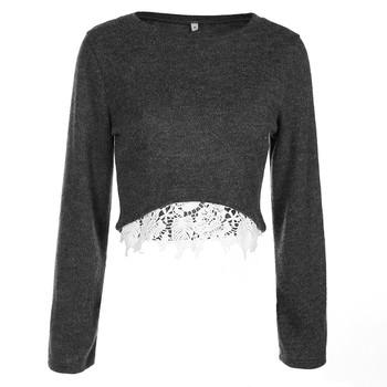 Скъсен дамски пуловер с О-образно деколте и дантела