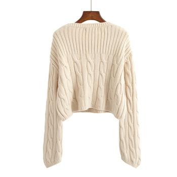 Дебел дамски пуловер скъсен в няколко цвята