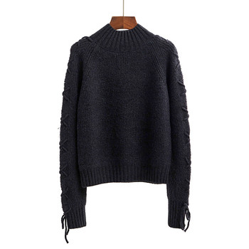 стилен дамски плетен пуловер с връзки по ръкавите