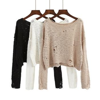 Есенно-зимен дамски пуловер в свободен стил
