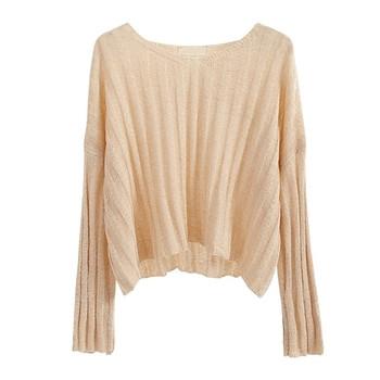 Тънък дамски пуловер в свободен стил в три цвята