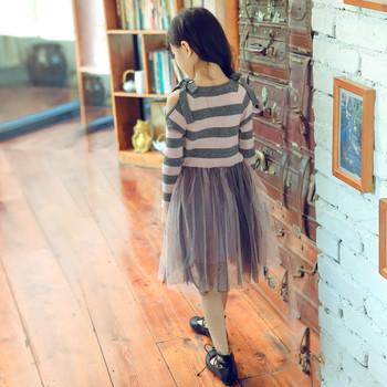 8b7729559af Есенно-зимна детска рокля за момичета с перли и тюл в два цвята ...