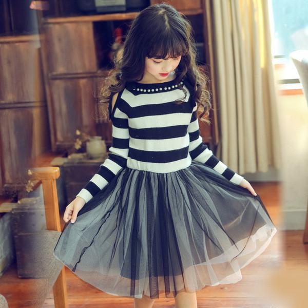 a4feaaea7cb Есенно-зимна детска рокля за момичета с перли и тюл в два цвята - Badu.bg -  Светът в ръцете ти