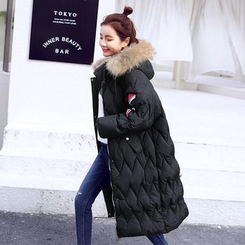 Актуално дамско дълго зимно яке с пухена качулка,3 цвята