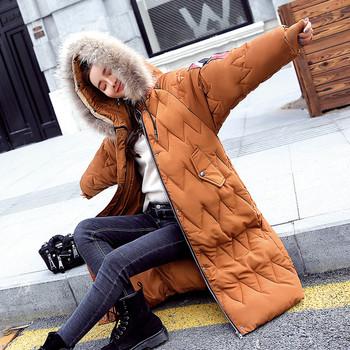 Μοντέρνο χειμερινό μακρύ μπουφάν με χνουδωτή κουκούλα, 3 χρώματα
