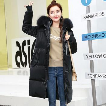 Χειμερινό μακρύ μακρύ μπουφάν για κυρίες με μαλακή γούνα και απαλή κουκούλα