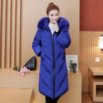 Дълго дамско зимно яке с мек пух по качулката,актуален модел