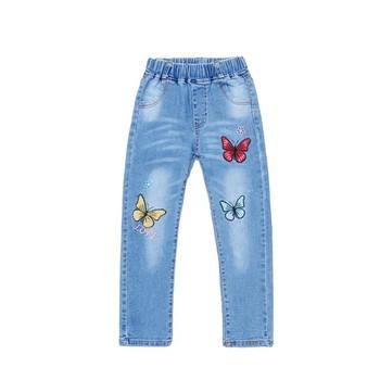 Детски дънки за момичета с бродерия цветни пеперуди