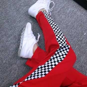 Модерен спортен дамски панталон в червен цвят в свободен стил