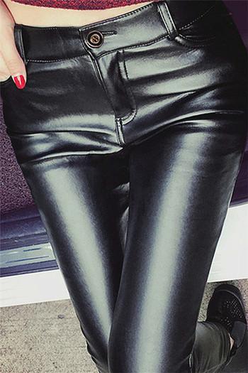 Дамски клин от еко кожа в черен цвят в три модела