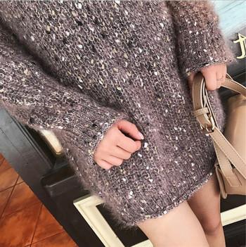 Есенно-зимен дълъг дамски пуловер с О-образна яка в свободен стил в три цвята