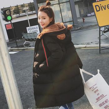 Сладко дамско зимно яке с качулка , декоративни ушички и мека,много топла подплата - 4 цвята