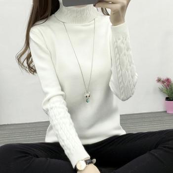 Удобен дамски зимен пуловер с висока яка - различни цветове
