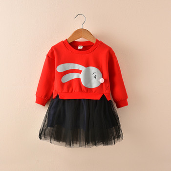 Спортно-елегантна есенно-зимна детска рокля с анимация