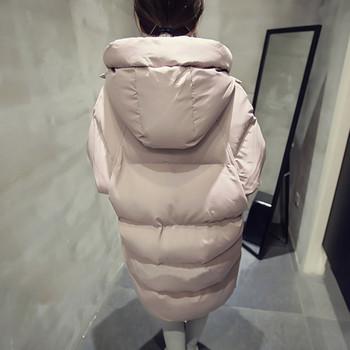 Μακρυμάνικο χειμωνιάτικο σακάκι με κουκούλα και τσέπες σε ροζ και μαύρο χρώμα