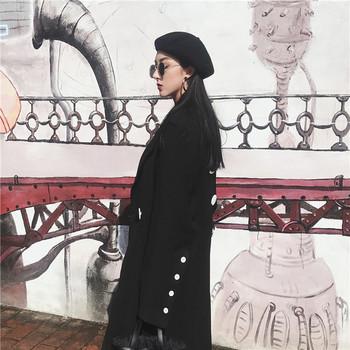 Κομψό μακρύ παλτό σε μαύρο χρώμα - Badu.gr Ο κόσμος στα χέρια σου 7443dd1a450