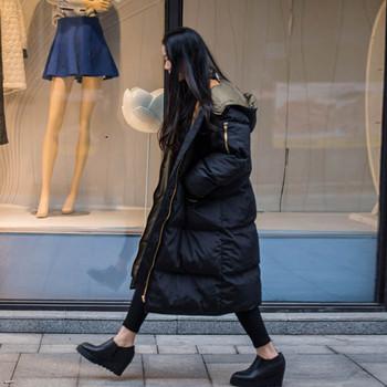 Много дълго зимно дебело яке за дамите с качулка и подплатено
