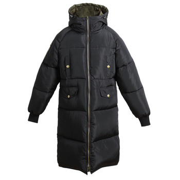 Πολύ μακρύ χειμωνιάτικο παλτό για γυναίκες με κουκούλα και επένδυση