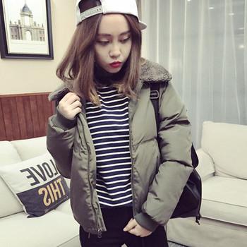 Ежедневно зимно дамско яке с ватирана яка, в два цвята