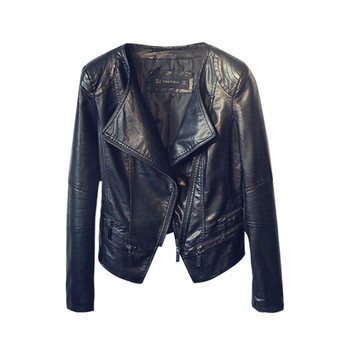 Ежедневно дамско яке от мека еко кожа в черен цвят