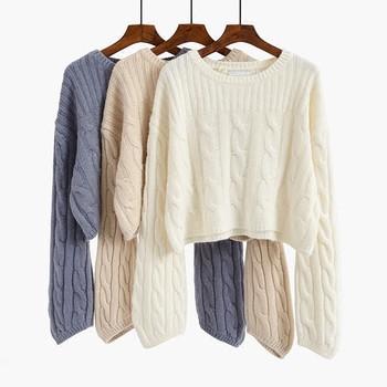 Скъсен дамски плетен пуловер в четири цвята с О-образно деколте
