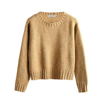 Семпъл дамски плетен пуловер, подходящ за ежедневие в много цветове