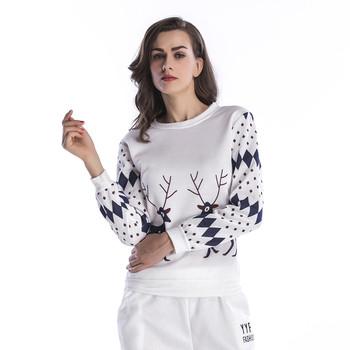 Ежедневена дамска блуза с О-образна яка и Коледни мотиви , 4 цвята
