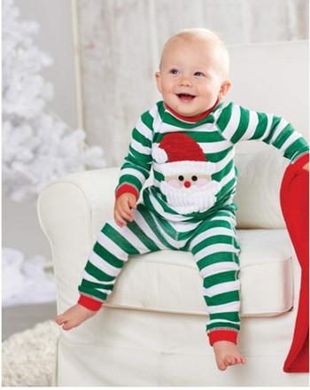 Зимен Новогодишен детски костюм с апликация на Дядо Коледа