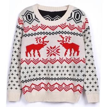 Ежедневен зимен дамски пуловер с О-образна яка и Коледни мотиви