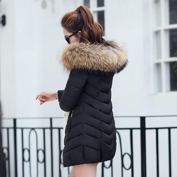 Зимно дамско яке с качулка и пух в няколко цвята