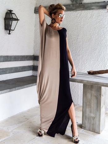 Дълга ефирна дамска рокля в свободен стил